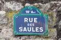 Paris Street Sign Royalty Free Stock Photo