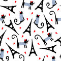 Paris symbols seamless pattern. Cute cartoon parisian cat and tour Eiffel vector illustration.