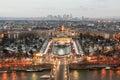 Paris tour eiffel view after sunset Royalty Free Stock Photo