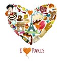 Paris touristic poster with cartoon symbols in heart shape vector illustration Stock Photos