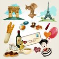 Paris touristic set with cartoon baguette wine croissant wine bottle icons isolated vector illustration Stock Photo