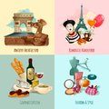 Paris touristic set design concept with architecture cuisine fashion and style cartoon icons isolated vector illustration Royalty Free Stock Photos