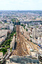 Paris train station areal view top Stock Photo