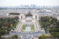 Paris trocadero and defence aerial view of western part of in the background la quarter Stock Photography
