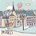 Paris urban sketch this is file of eps format Royalty Free Stock Images