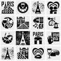 Paris vector icons set on gray icon isolated grey background eps file available Royalty Free Stock Photos