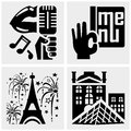 Paris vector icons set on gray isolated grey background eps file available Stock Image