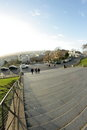 Paris view of montmartre france tourists climb the stairs butte Stock Image