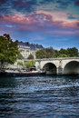 Paris view of the seine and the boat beautiful sunset sky against a Royalty Free Stock Images