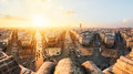 Paris view from the top of arc de triomphe at sunset Royalty Free Stock Image