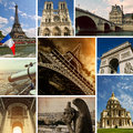 Paris views photo collection collage Royalty Free Stock Photo