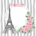 Paris vintage card.Eiffel tower,Watercolor rose Royalty Free Stock Photo