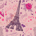 Paris. Vintage seamless pattern with Eiffel Tower, flowers, feathers and text.