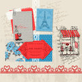 Paris vintage set scrapbook design elements in Stock Photo