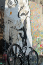 Paris the wall filled with graffiti near pompidou centre Royalty Free Stock Photos