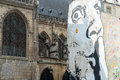 Paris the wall filled with graffiti near pompidou centre Royalty Free Stock Photography