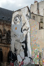 Paris the wall filled with graffiti near pompidou centre Stock Image