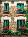 Paris windows and balconies of old buildings in france Royalty Free Stock Photos