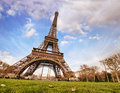 Paris. Wonderful wide angle view of Eiffel Tower from street lev Stock Photography