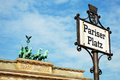 Pariser Platz Sign and Brandenburg Gate Stock Photos