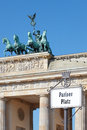 Pariser platz sign brandenburg gate berlin Royalty Free Stock Images
