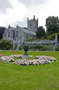 The parish church of st hydroc view from gardens at lanhydrock house in bobin cornwali england Royalty Free Stock Image