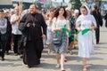 Parishioners Ukrainian Orthodox Church Moscow Patriarchate during religious procession. Kiev, Ukraine