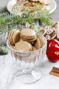Parisian macaroons in christmas setting festive dessert Stock Photo