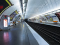 Parisian metro view of a station in paris france Stock Photos