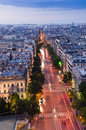 Parisian sunset high angle view of avenue during Royalty Free Stock Images