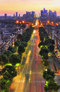 Parisian sunset high angle view of la defense avenue during Royalty Free Stock Photos