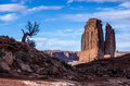 Park avenue in arches national park consists of canyons and towers of sandstone near the entry of utah usa Stock Photo