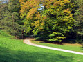 Park in the beginning of autumn landscape view Stock Photo