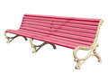 Park bench pink with gold colored legs isolated over white background Royalty Free Stock Images