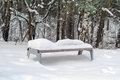 Park Bench with Snow in Winter Royalty Free Stock Photo