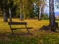Park bench with a view overlooking the countryside Stock Photo