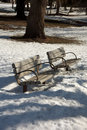 Park benches at a in kent county michigan Royalty Free Stock Photography