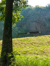 Park benches wooden on a hillside with a tree in the foreground Stock Photos