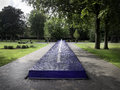 Park with blue fountain esbjerg denmark in Royalty Free Stock Image