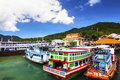 Park boat koh tao the and colorful at thailand Royalty Free Stock Image