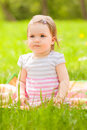 Park child little in green meadow Royalty Free Stock Photo