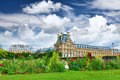 Park des Tuileries and the Louvre Museum.Paris, France Royalty Free Stock Photo