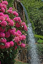 Park Flowers & Waterfall Royalty Free Stock Photo