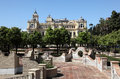 Park in front of the malaga city hall andalusia spain Stock Images