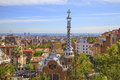 Park güell park guell in barcelona antoni gaudi s modern architecture masterpiece with mediterranean sea the distance Royalty Free Stock Images