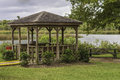 Park gazebo a small located near the water in a city Stock Images