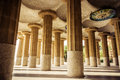Park guell barcelona catalonia ceiling of the common room one hundred column in the spain vintage retro style Royalty Free Stock Photography