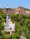 Park guell in barcelona parc famous designed by antoni gaudi catalonia spain Stock Images
