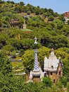 Park guell in barcelona parc famous designed by antoni gaudi catalonia spain Royalty Free Stock Images