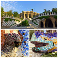 Park guell in barcelona set dragon with ornamental snake at spain Royalty Free Stock Image